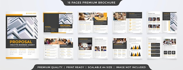 Ensemble de conception de modèle de brochure à deux volets a4 avec un style minimaliste et un concept de mise en page propre pour la présentation et la proposition d'entreprise
