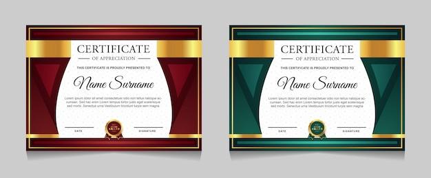 Ensemble de conception de modèle de certificat avec élément doré de luxe