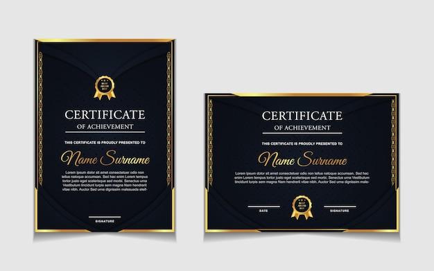 Ensemble de conception de modèle de certificat avec des formes modernes bleu marine et de luxe