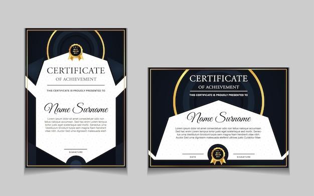 Ensemble de conception de modèle de certificat avec des formes modernes bleu marine et luxe