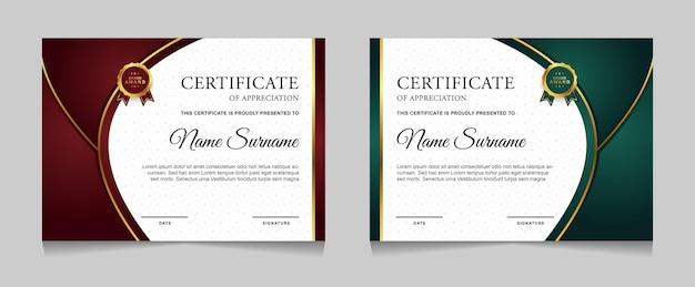 Ensemble de conception de modèle de certificat avec des formes modernes de luxe or