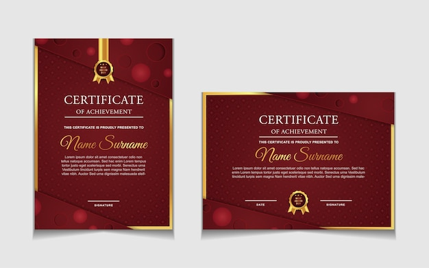 Ensemble de conception de modèle de certificat avec des formes modernes rouges et luxueuses