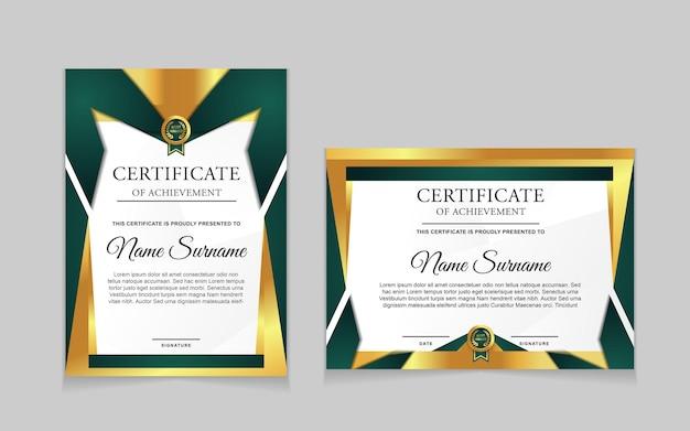 Ensemble de conception de modèle de certificat avec des formes modernes vertes et luxueuses