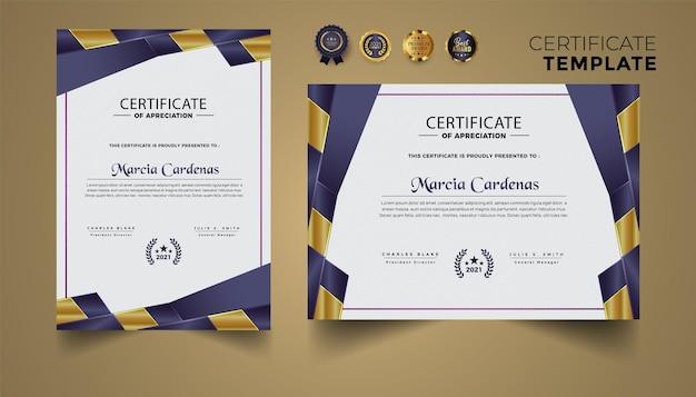 Ensemble de conception de modèle de certificat avec luxe moderne premium