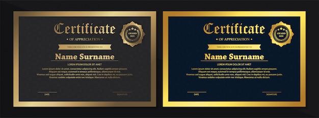Ensemble de conception de modèle de certificat noir doré