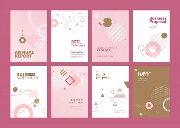 Ensemble de conception de modèle de couverture rapport annuel beauté