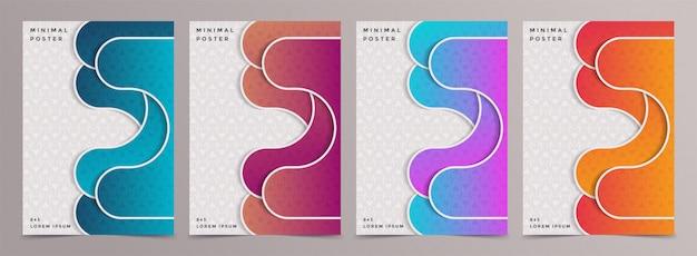 Ensemble de conception de modèle de couvertures minimales colorées abstraites.