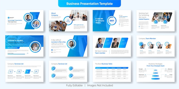 Ensemble de conception de modèle de diapositive de présentation d'entreprise créative