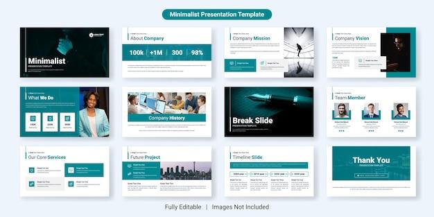 Ensemble de conception de modèle de diapositive de présentation d'entreprise minimaliste