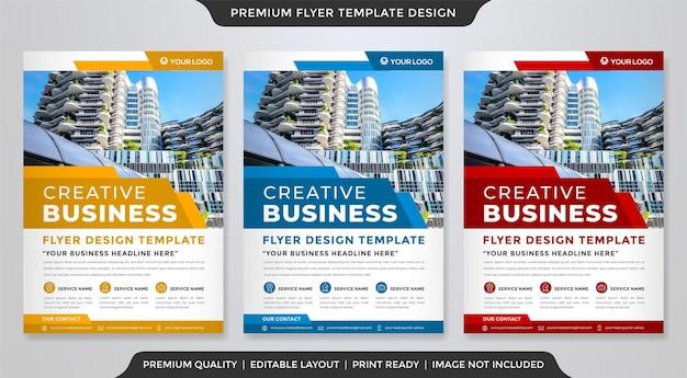 Ensemble de conception de modèle de flyer avec un style abstrait et une mise en page moderne