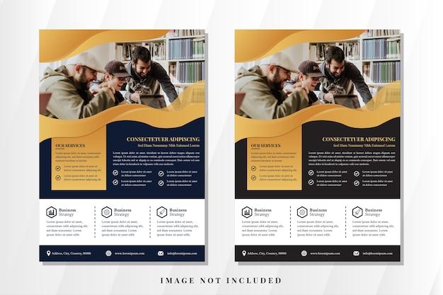 Ensemble de conception de modèle de flyer vertical ondulé abstrait fond bleu foncé et noir combiné style liquide de couleur blanche pour bannière d'élément avec espace dégradé d'or pour collage photo