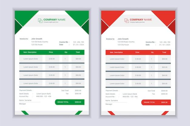 Ensemble de conception de modèle de formulaire de facture professionnelle moderne entreprise facture.