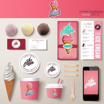 Ensemble de conception de modèle d'identité d'entreprise de crème glacée de vecteur. maquette de marque.