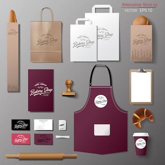 Ensemble de conception de modèle d'identité de marque d'entreprise de boulangerie. modèle à emporter,