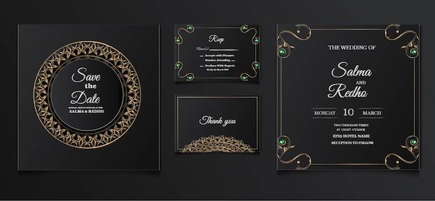 Ensemble de conception de modèle d'invitation de mariage élégant