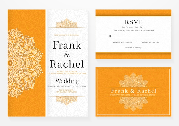 Ensemble de conception de modèle d'invitation de mariage avec style élégant