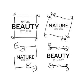 Ensemble de conception de modèle de logotype beauté et nature dessinés à la main
