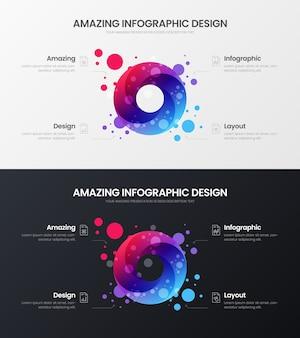 Ensemble de conception de modèle de présentation d'analyse de marketing de cercle infographique organique de qualité supérieure