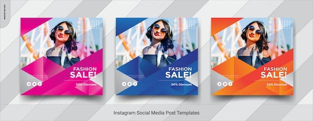 Ensemble de conception de modèle de publication de médias sociaux fashion-insta