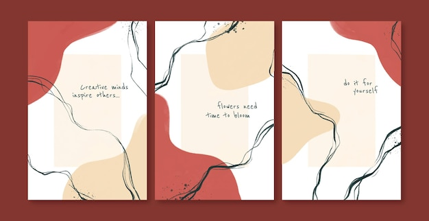 Ensemble de conception de pages de couverture abstraites peintes à la main