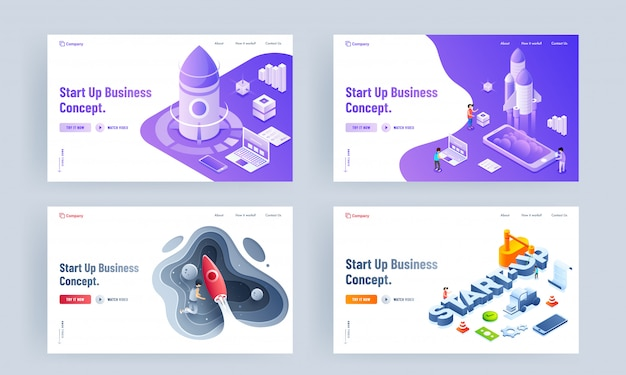 Ensemble de conception de pages de destination avec différentes plates-formes et lancement réussi d'un projet de fusée pour le concept de start up business.