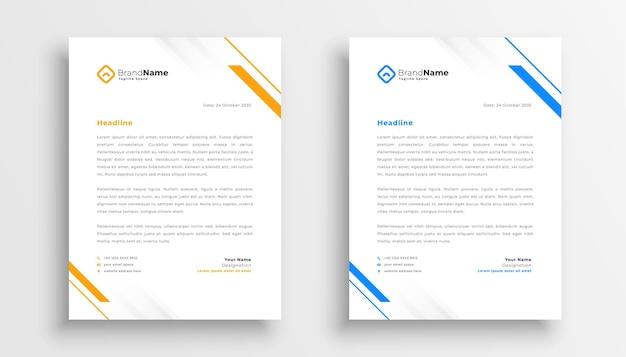 Ensemble de conception de papier à en-tête simple entreprise de deux