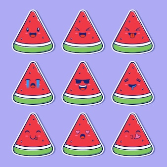 Ensemble de conception de pastèque mascotte emoji.