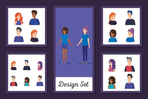 Ensemble de conception de personnage d'avatar de jeunes