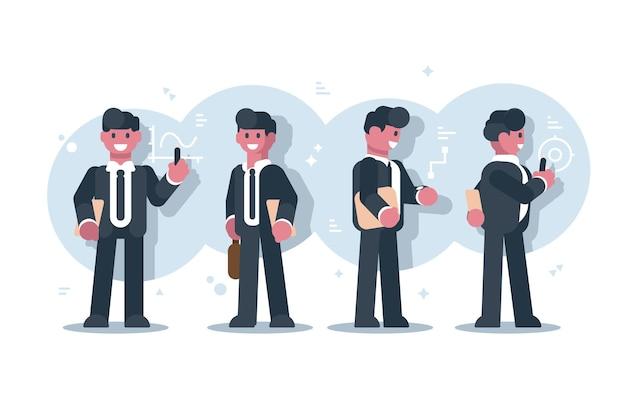 Ensemble de conception de personnage de dessin animé homme d'affaires