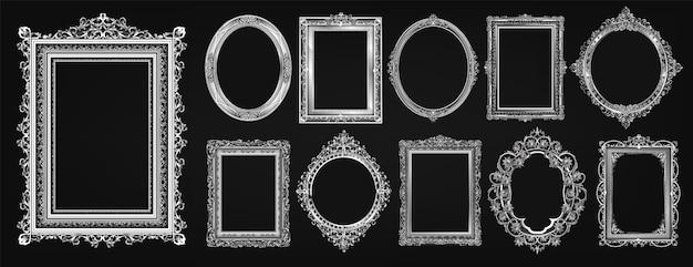 Ensemble de conception de photo de cadre royal or invitation