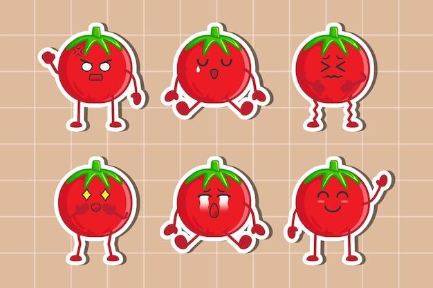 Ensemble de conception plate d'autocollants de caractère de tomate vecteur premium isolé