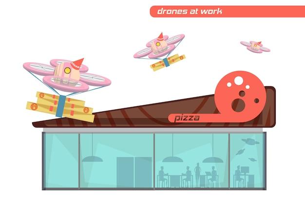 Ensemble de conception plate de drones volants livrant une pizza sur fond blanc