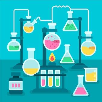 Ensemble de conception plate d'objets de laboratoire scientifique