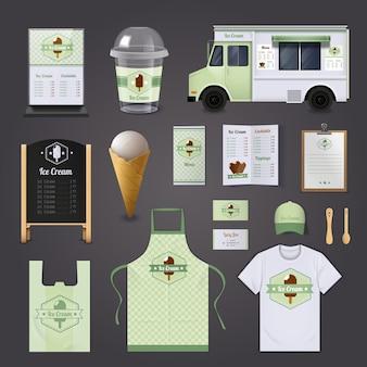 Ensemble de conception réaliste d'entreprise de crème glacée