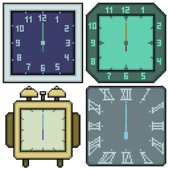 Ensemble de conception de rectangle d'horloge isolé pixel art