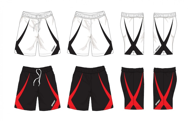Ensemble de conception de shorts de sport.