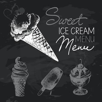 Ensemble de conception de tableau dessiné à la main de crème glacée. texture de craie noire