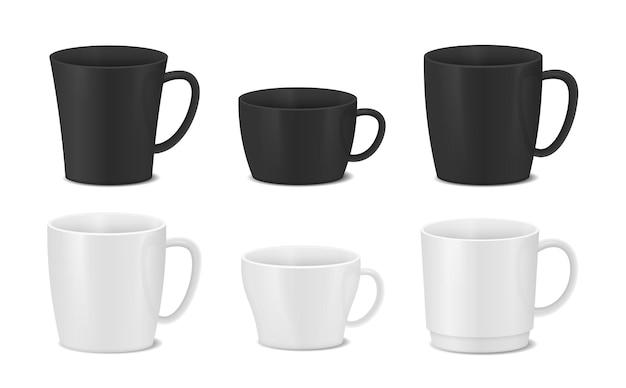 Ensemble de conception de tasses blanches et noires