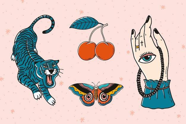 Ensemble de conception de tatouage magnifique rétro