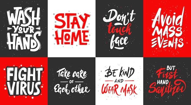 Ensemble de conception de typographie unique dessinée en quarantaine