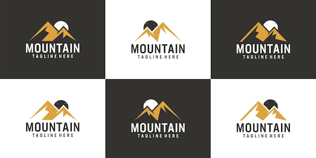 Ensemble de conception de vecteur de logo de crête de montagne d'aventure de paysage
