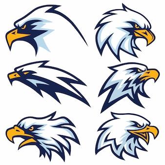 Ensemble de conception de vecteur logo eagle
