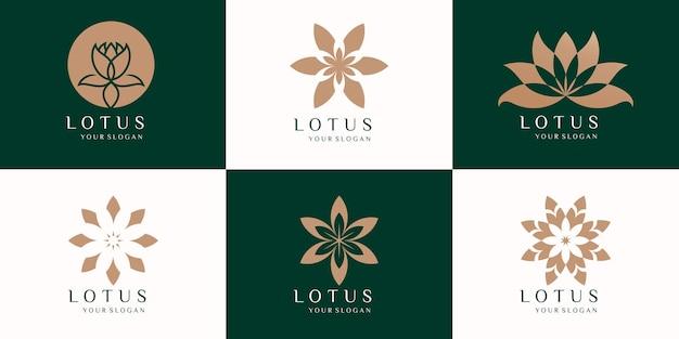 Ensemble de conception de vecteur de logo de fleurs de lotus de beauté