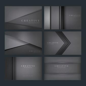 Ensemble de conceptions de fond créatif abstrait en gris foncé