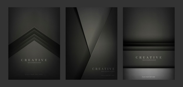 Ensemble de conceptions de fond créatif abstrait en noir