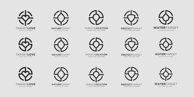 Ensemble de conceptions de logo cible chute de bouclier de goupille d'amour de feuille de modèle combinée avec le signe de cible d'élément