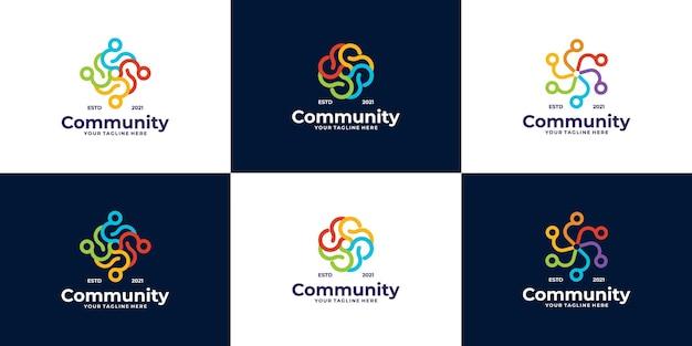 Ensemble de conceptions de logo de communauté pour les équipes et les groupes