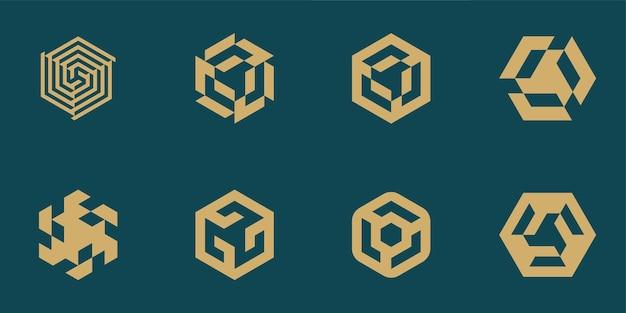 Ensemble de conceptions de logo hexagonal pour l'identité de marque d'entreprise d'entreprise