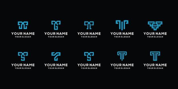 Ensemble de conceptions de logo de lettre t