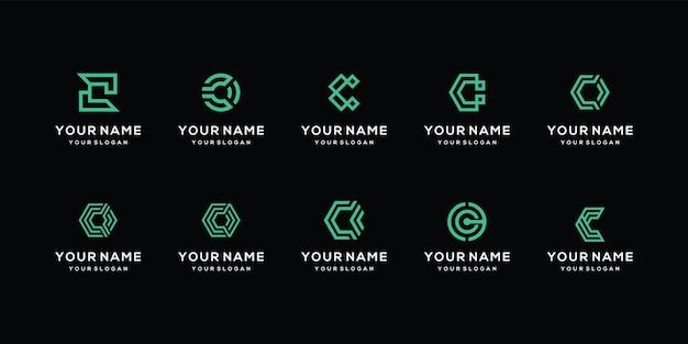 Ensemble de conceptions de logo de lettre c